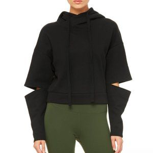 NWT Alo black LONG SLEEVE cut out sleeve hoodie